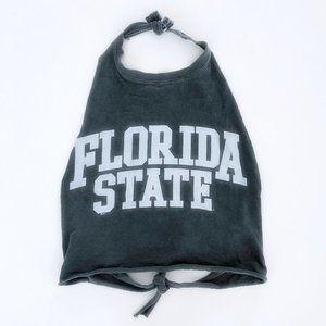 FLORIDA STATE Women's Grey White Halter Crop Top